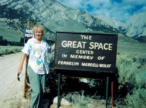 Photo of Doroethy Leonard at The Great Space Center, in Memory of Franklin Merrell-Wolff